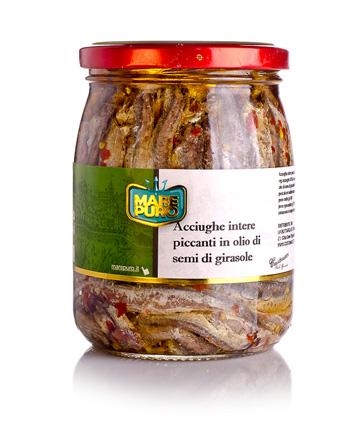 Acciughe intere piccanti in oilio di girasole